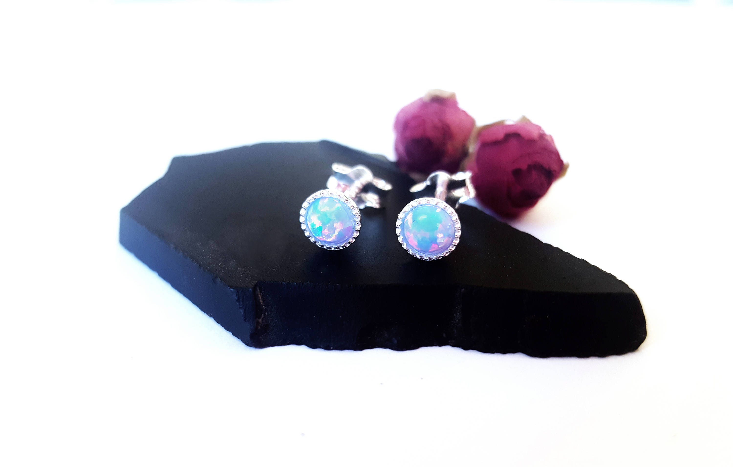 handmade starburst florentine blue glass opal jewellery jewellry stud se earrings