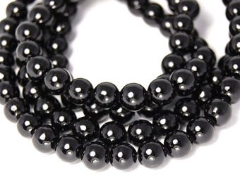 6mm Opaque Black Jade Beads Opaque Smooth - 15.5 inch strand