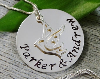 Hand Stamped Jewelry - Mom Necklace - Dove Charm - Sterling Silver Necklace - Personalized Jewelry - Name Necklace