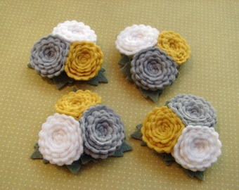 Wool Felt Flowers - Scallop Button Flower Trios - Yellow & Gray Collection - Choose your Quantity