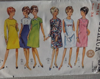 Semi-Fitted, A-Line Dress with Sleeve Variations and Oval Neckline in Size 14 Complete All 12 Pieces Vintage Butterick Sewing Pattern 4348