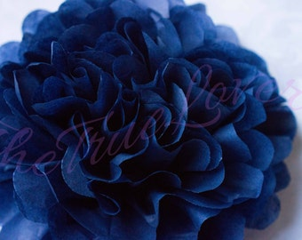 NAVY BLUE/ tissue paper Pompoms,single pompom,nursery room decoration, baby shower,wedding,birthday,engagement,bridal shower,DIY,centerpiece