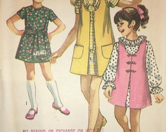 Simplicity 9189 Child's and Girls' Dress, Scarf and Vest-Coat 1970