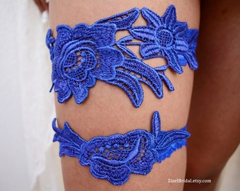 Cobalt Blue Garter, Wedding Garter, Blue Wedding Garter, Wedding Garter Set, Something Blue, Wedding Garter Blue, Blue Garters, Lace Garters