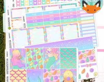 Merbabes EC Vertical 6 sheet Weekly Kit - mermaid mermay mermaids ocean shell pastel - Planner Stickers - Erin Condren (EC0018)