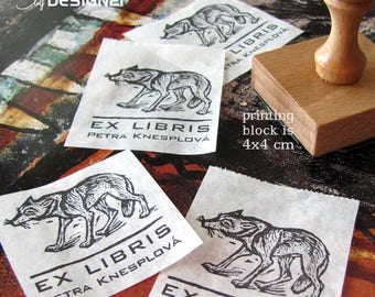 Wolf: personalised rubber stamp (4x4 cm)