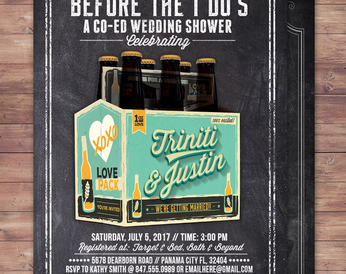 Coed bridal shower invitation- Beer bridal shower invitation- couples bridal shower - bridal shower- Beer and BBQ, love is brewing, Brews