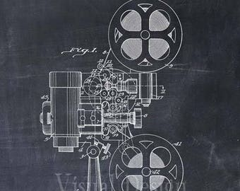 Motion Picture Projector Patent Print Movie Film Patent Art Print
