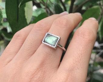 Rectangle Labradorite Boho Sterling Silver Vertical Horizontal Smooth Gemstone Bohemian Ring- Minimal Gypsy Simple Labradorite Jewelry