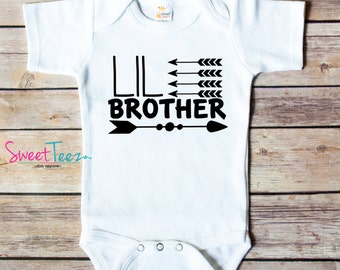 LIL Brother or Sister Arrow Baby Bodysuit Lil Brother Arrow Bodysuit Shirt New Baby