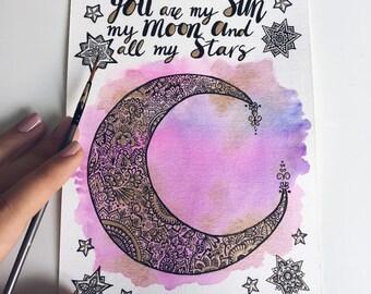 Mond, Mandala, Wandkunst, Mond-Wand-Kunst, La Luna Wandkunst, La Luna, Mond-Drucke, Mond-Kunstdrucke