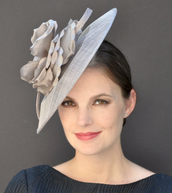 Wedding Hat, Formal Hat, Dressy Hat, Taupe Gray Hat, Taupe Fascinator Hat, Kate Middleton Hat, Duchess Hat, Saucer Hat, Derby Hat