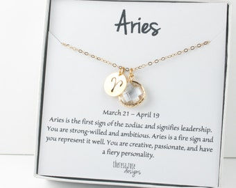 Aries Zodiac Gold Necklace, Aries April Necklace, April Birthday Jewelry, Zodiac Necklace, Astrology Gold Necklace