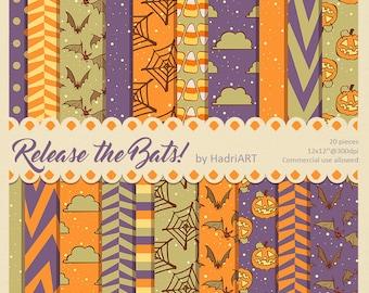 Halloween Digital Paper // Halloween Patterns With Pumpkins, Candy Corn, Spiderweb, Chevron, Bats