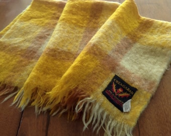Vintage Creagaran Mohair Lap Blanket, Gold & Brown, Made in Scotland