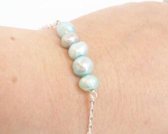 Teal pearl bracelet - teal freshwater pearl silver bracelet - blue pearl -  shimmery pearls - pearlesent - delicate bar bracelet - simple