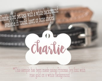 Rose Gold Pet ID - Custom Pet ID Tag - Personalized Dog Tag - Custom Cat Tag - Pet Tag - Double Sided -  Pet Name Tag - Pet Gifts - Puppy