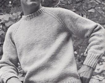 Knit Mens Round Neck Pullover with Raglan Sleeves Vintage Knitting PDF PATTERN Retro Mad Men