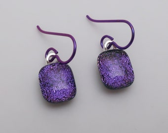 Fabulous dainty  purple  dichroic glass earrings Purple niobium hypo-allergenic ear wires fused glass jewelry Lightweight color punch