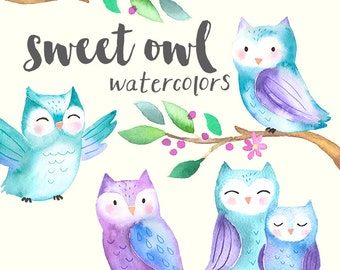 Watercolor Owls Clipart | Cute Baby Owls - Baby Shower Nursery Art - Woodland Animals - Scrapbooking - Digital Instant Download PNG Files