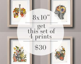 "Set of Four 8x10"" for 30USD. White Prints for sale Cool Anatomical poster art  House Decor Wall, hanging, Art Set, doctor SET016"
