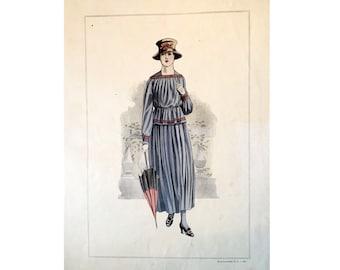 1917 ANTIQUE FRENCH FASHION lithograph - original antique print - fashion illustration design fashion designer - blue grey dress