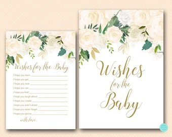 Blush Wishes for Baby Cards, Wishes for Baby, Wishes for Baby Printable,  Wishes for Baby, Baby Shower Activities, Shower Printable TLC530