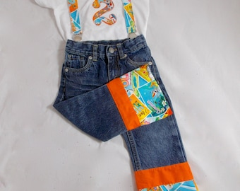 Olaf Birthday Shirt Jeans Suspenders: Boy Birthday Outfit, orange, blue, white, frozen birthday party, photo shoot, adjustable, upcycled