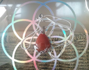 Red Agate crystal necklace with 925 silver chain