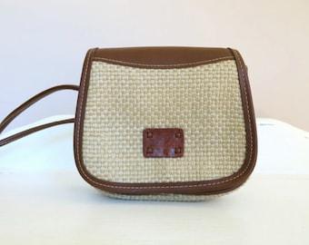 Vintage purse // woven straw purse - Liz Claiborne shoulder bag - small purse