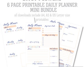Floral Daily Planner Printable Mini Bundle - Coral & Navy Blue