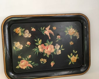Vintage Tole Tray, Black Hand Painted  Floral Tray, Large Rimmed Lap Tray, Mid Century Tray, Rusted Tray