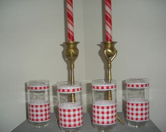 Vintage Libbey Glasses Tumblers Red and White Gingham
