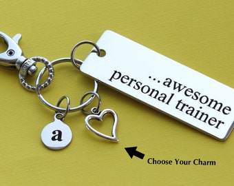 Personalized Personal Trainer Key Chain Stainless Steel Customized with Your Charm & Initial -K564