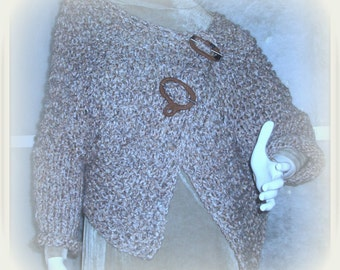 SWEATER WOMENS KNITTED Shrug Brown Oversized Women  Soft Pliable Loose Knit Loose Fitting
