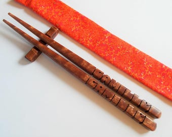 Chopsticks in Sapele Pommele Wood, Personalized , Custom Carved to Order