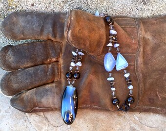 HIDALGO Necklace (Black Sardonyx, Blue Lace Agate, Smoky Quartz)