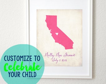 Birth Date Love Any State or Country Customizable Art 8x10 Print. Baby Shower Gift. New Baby Gift. New Family. Adoption Gift.