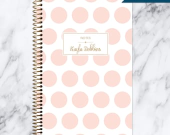 personalized NOTEBOOK | bullet journal | travel journal | personalized gift | spiral notebook | dot grid notebook | pink gold polka dots