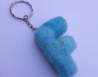 Keyring, needle felted wool blue letter F