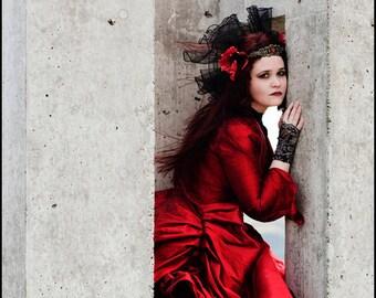 Red Victorian Parisian Bustle Ensemble by Kambriel - Crimson Moiré - Original Designer Sample - Brand New & Ready to Ship!