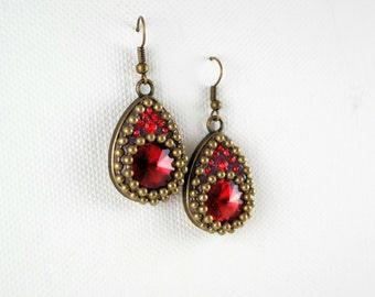 red big drop earrings,swarovski earrings,shiny earrings,sparkly earrings,clay earrings,brass earrings,gypsy earrings,boho earrings