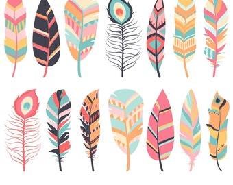 Feather Clipart, Digital Feathers, Feather Clip Art, Pink Feathers, Navy Feathers, Commercial Use, Printable