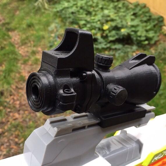 3D Printed Hybrid Scope - ACOG Sight, Reddot Sight, Rifle, Nerf Gun  Accessory