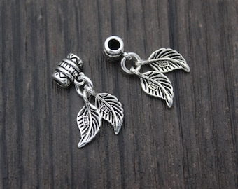 2 Sterling Silver Leaf Charm,Silver Leaves Charms,Leaf pendant,Bail Charm,Bail Tube,Bail Connector