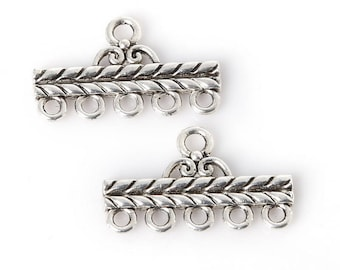 Set of 2 layered 13 * 22 mm silver plated