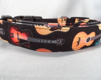 Guitar Dog Collar,Rock and Roll Dog Collar  with GuitarRows on Black