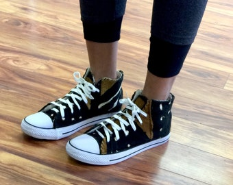 Custom MudCloth Covered Sneakers 11 Women's