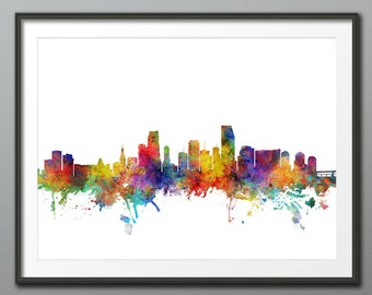 Miami Skyline, Miami Florida Cityscape Art Print Poster (3954)