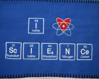 Royal Blue SCARF I Love ( heart ) ScIENCe Chemistry Science Geek Ready to Ship